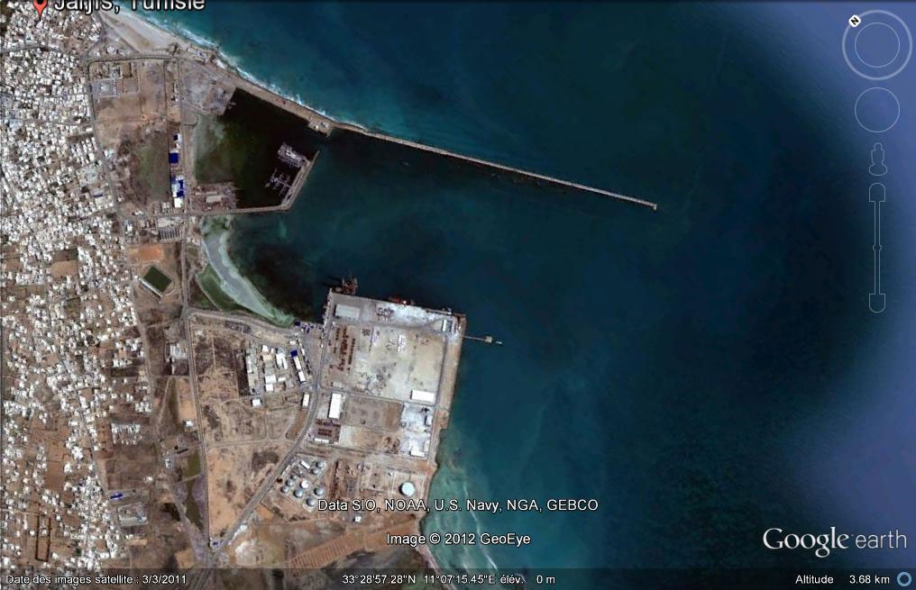 Aerial view of the commercial port of Zarzis